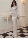 AshoreShop Sleek Long Sleeve Silver White Shimmering Elegant high neck Long Evening Dress