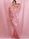 AshoreShop Sparkling Pink Long Elegant Mermaid Sleeveless Evening Gown