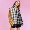 ASHORE Plaid Shirt Cotton Long Sleeve Patchwork Blouse