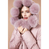 Women Winter Solid 90% Duck Down Coat Thick Fur Pompom Hooded