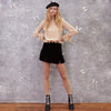 Solid Black Velvet Split Skirts Women High Waist Zipper Casual A-line Mini Skirts
