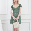 Floral Print Green Dress Frill Trim