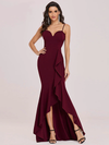 Ashoreshop Beautiful Long and Elegant Party Evening Dress with Ruffles and Sleeveless Low cut