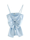 2020 summer after the new elastic slim bow tie decorated small camisole short tops