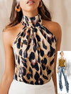 Leopard Print Ladies Shirts And Tops Halter Blouse