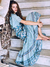 Summer Rayon Seaside Vacation Maxi women dresses blue rayon floral print summer Dresses