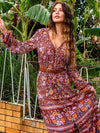 Ethnic print boho dress sexy deep v-Neck long sleeve 2021 red rayon floral print Dresses