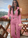 ASHORESHOP Woman's One Piece Ski Jumpsuit Winter Warm Slip On and Go Suits Snowboard Skisuit