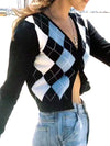 6 COLORS Vintage Rhombic Plaid Single Breasted Button Cardigan Retro Sweater Woman V-neck Long Sleeve Jumper Cropped Knitwear