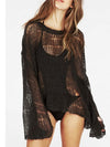 Ashoreshop Beach Hippie Hole Sweater Asymmetric Hem Loose Knitted Crochet Blouse