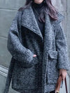Women Loose Herringbone Twill Woolen Coats New Arrival  Long Oversize Belted Jacket