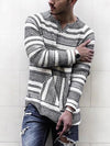 Mens Thick Weave Ethnic Long Sleeve T-shirt Leisure Travel  V Neck Long Sleeve Stripe T-Shirt
