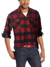 ASHORE Men Hot Sale Cotton/Poly Cotton Red Block Plaid Button Down Casual Shirt
