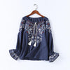2018 Spring Summer Floral Embroidery Lace-up O-neck Womens Blouse Shirt