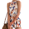Womens 2pc Summer  Floral Printed Female Suits 2 Pieces Tops & Shorts