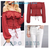 ASHORE Womens Summer outfit 2pc sets - Off shoulder lace up blouse and Jean