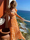 Vacation Elegant Orange Plaid Long Maxi Cotton Dress