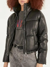 Winter Women Fashion Thick Warm Faux Leather Puffy Jacket