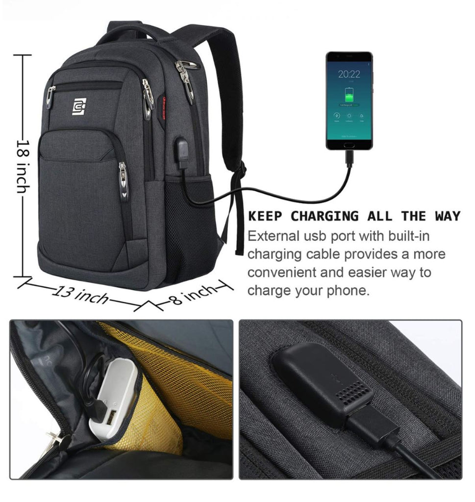 Anti-Theft Unisex Laptop Backpack Business Travel School Bag  Charge Port