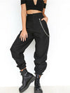 ASHORESHOP Black Khaki Women Casual High Waist Cargo Comfortable Roomy Pants