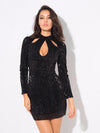 Black Cut Out High Collar Elastic Sequins Bodycon Dress