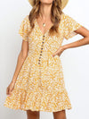 Beach A Line Sun Dresses 2020 Summer Floral Print V Neck Boho Beach Dress
