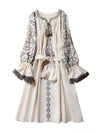Ashoreshop cotton & linen boho dress ethnic floral embroidery fringe long sleeve mini dress