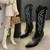 ASHORESHOP embroidered western cowgirl boots retro knight boots boots