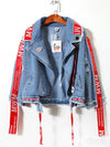Ashoreshop 2021 Spring Autumn Streetwear Ribbon Embroidery Denim Jacket