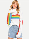 Women White with Rainbow chest stripe sweater pullover jumper trendy loose fit knitswear