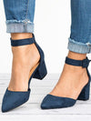 Casual Low Heels Sandals Women Ankle Strap Summer Pointy Toe Chunky Heel Comfortable Shoes