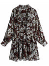 Women's 2021 New French VRetro floral print long-sleeved dress chiffon dresses