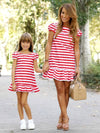 ASHORESHOP Mom and daughter stripes matching dress