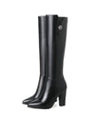 Womens Knee High Pointed Toe PU Square Heels High Heels Long Boots