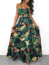 Women Two Piece Set Crop Top Long Skirt Tropical Floral Printed Sets Island Girl
