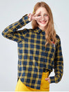 New Arrival Women Autumn Plaid Shirt Cotton Best Made Turn Down Collar Shirt Regular Fit