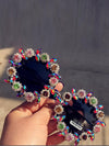 HANDMADE avant-garde fashion sunglasses sunglasses female diamond Flower Frame Sunglass