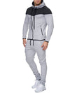 ASHORESHOP Men 2pc Sets Zipper Hoodies+Pants Sets Male Tracksuit