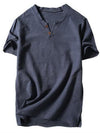 ASHORESHOP Mens V-Neck Cotton Linen Short Sleeve Casual Henley T-Shirt Top