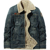 ASHORESHOP Mens Denim Coat with thick lamb wool cotton coat				 							        							Plus velvet thick design washed light retro denim fabric
