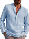 Men's Casual Luxury Linen Shirts Blouse Cotton Loose Tops Short Sleeve Tee