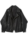 ASHORESHOP Womens PU Short Jackets loose leather jacket oversize motorcycle PU leather Coat