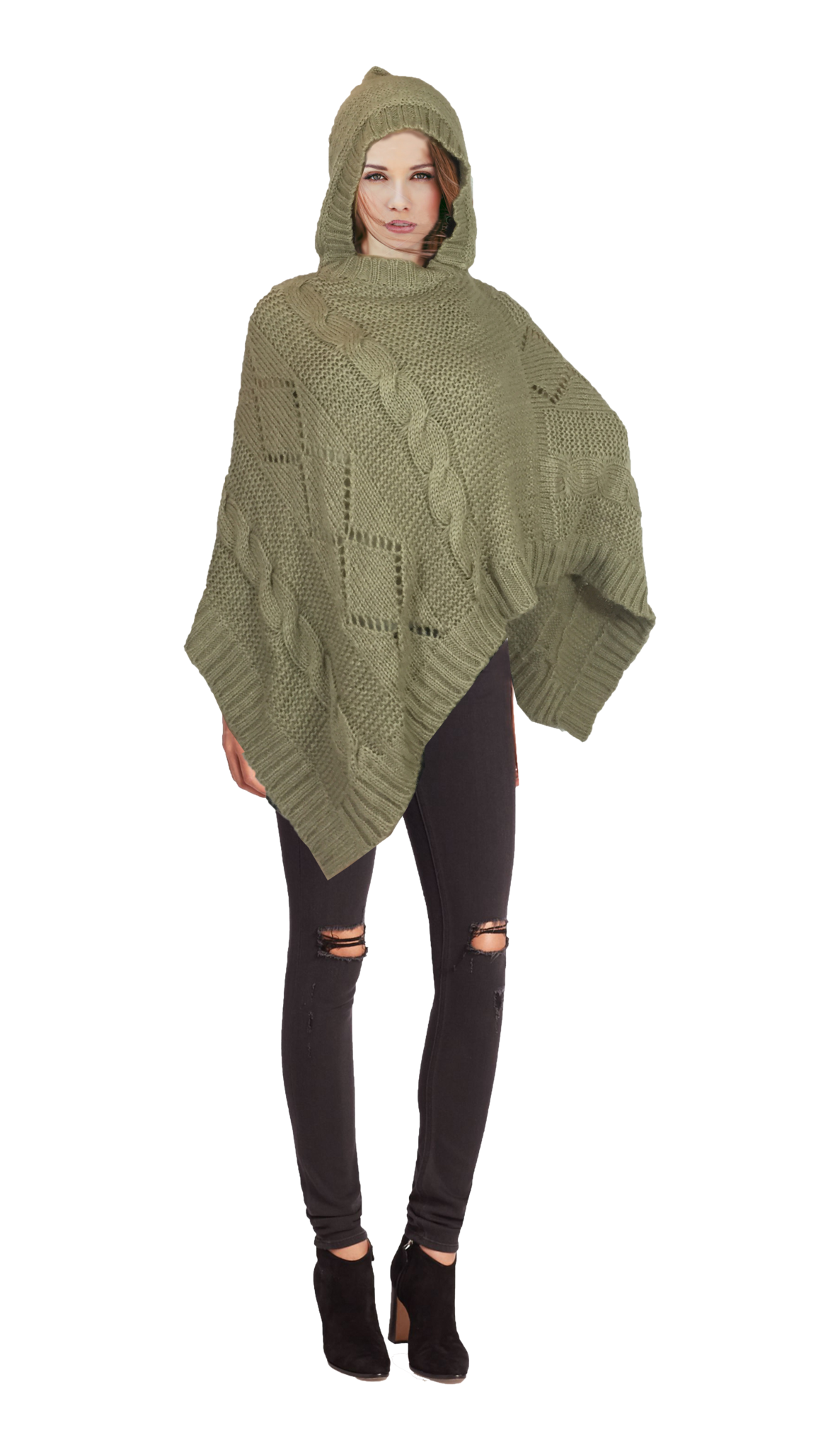 Womens Asymmetric Hoody Sweater Poncho
