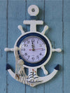 ASHORESHOP Sea Lover Nautical Anchor Ship Steering Wheel  Wall Clock