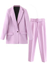 ASHORESHOP Women 2020 Fashion Office Wear Pockets Blazers Coat  and Pant