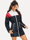 ASHORESHOP Women Spring Windbreaker Color Block Jacket