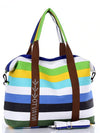 Women Canvas Hangbag Female Shoulder Bags Ladies Beach Stripe Bag
