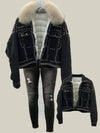 Real Fox Fur and Down 2020 Hand Studded Rivet Denim Jacket Detachable Fur and Ripped Jeans