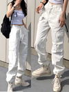 ASHORESHOP Chic Retro Harajuku Style Designer White Trousers