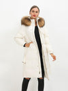 Women Winter 90% White Duck Down Parker With Belt real fox fur